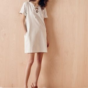 Madewell Stripe Lace-Up Dress